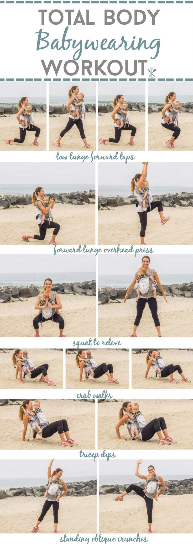 Workout with baby! This total body babywearing workout incorporates upper and lower body circuits, and standing core work! No equipment required to workout at home with kids