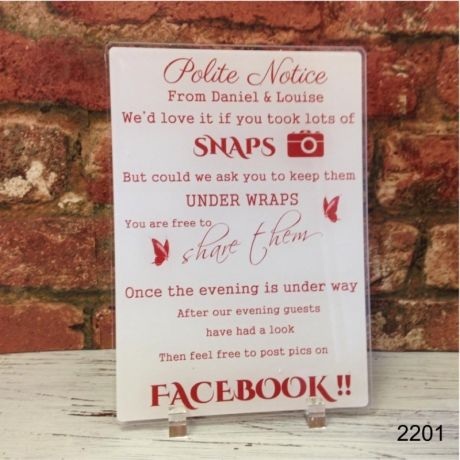 Polite notice for your guests! PRODUCT PERSONALISATION - ADD ANY NAMES