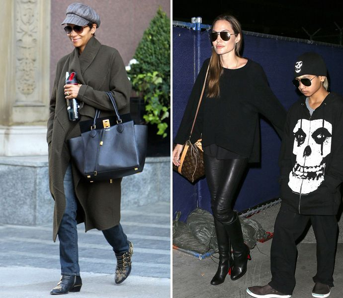 Халли Берри и Анджелина Джоли с сыном Мэддоксом
