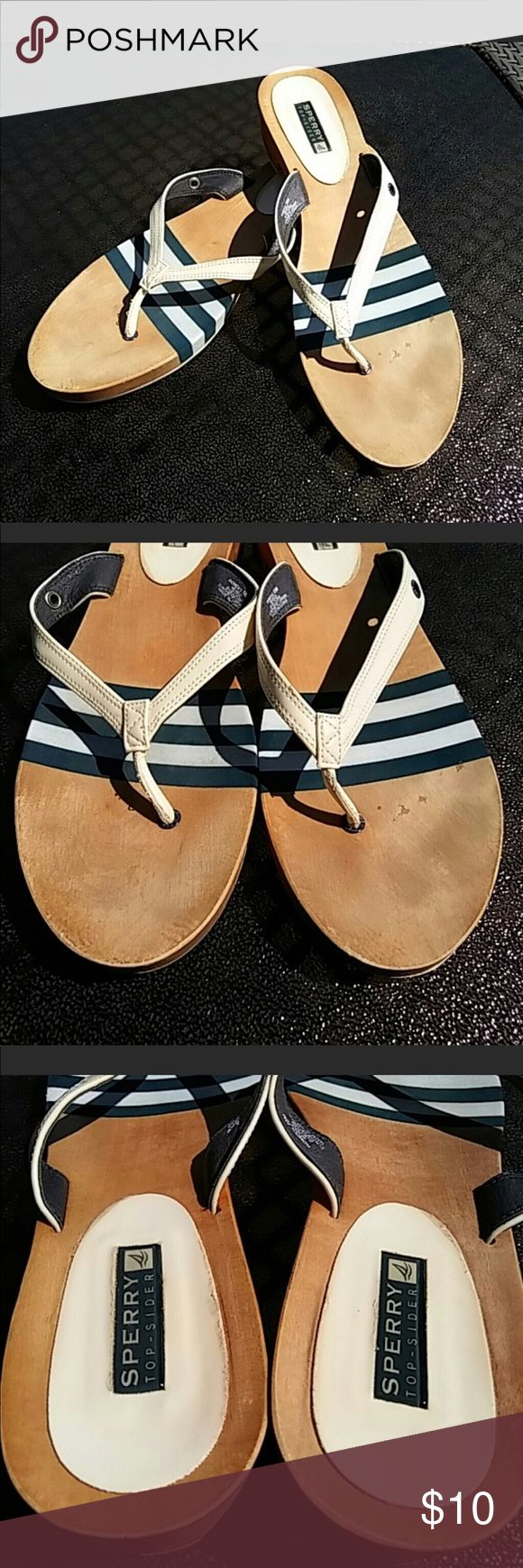 Sperry Slippers Thong Type Reposhing😂 Got too excited to have it, did not looked at the size. Wooden slippers with navy blue and white accent. Sperry Shoes Slippers