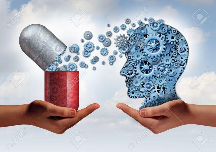 Medicina Cerebro concepto de atenci�n de la salud mental como las manos que sostienen una c�psula de p�ldora abierta liberaci�n de marcha a una cabeza humana hecha de m�quinas-ruedas dentadas como un s�mbolo de la ciencia farmac�utica de la neurolog�a y el tratamiento de la enfermedad psicol�gica.