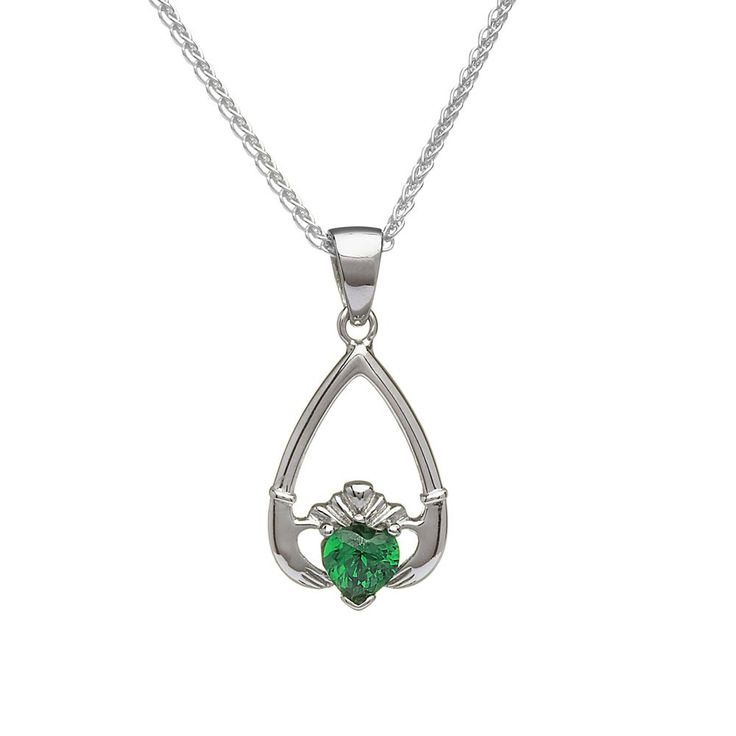 May Birthstone Claddagh Pendant - Claddagh Birthstone Jewelry - Rings from Ireland