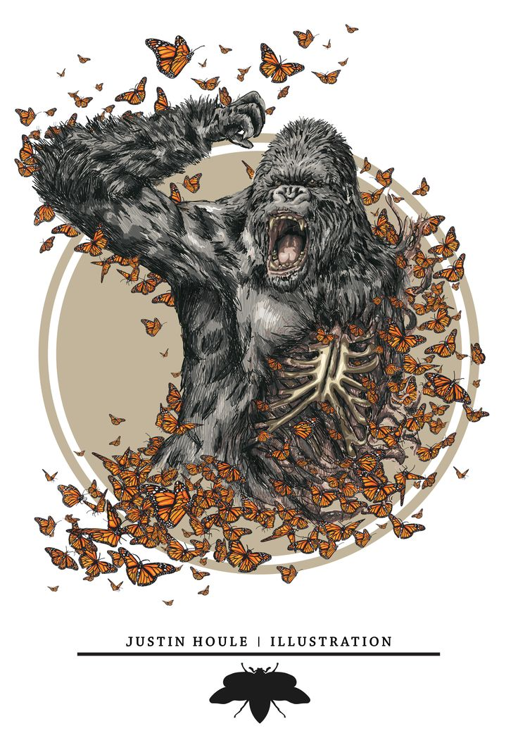 Gorilla and monarch illustration - Justin Houle