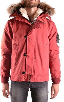 Stone Island Men's Red Acetate Outerwear Jacket.