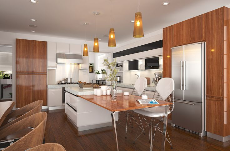 The kitchen of white lacquer with wood grain pvc presents a rural style, which makes people feel at ease. The combination of wall cabinets, base cabinets and high cabinets provides great storage place in kitchen. Besides, the L-shape layout with an island makes the kitchen look more spacious.