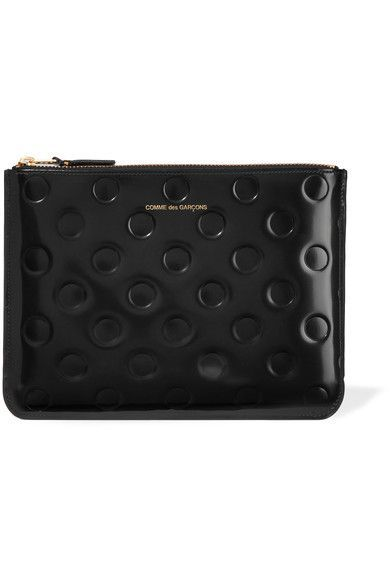 Comme des Garçons | Embossed glossed-leather pouch | NET-A-PORTER.COM