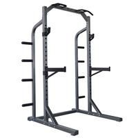 The DKN heavy duty crossfit half rack facilitates workouts by offering excellent and safe all-round exercise options from crossfit to barbell to circuit training and more. Using the different functions on this apparatus regularly is a sure-fire way to get into shape, either at home or in a fitness studio. It has a pull up station and Olympic plate storage bars to tidy weights away after use. The adjustable bar hooks and safety catches create a safer and more controlled environment to work…