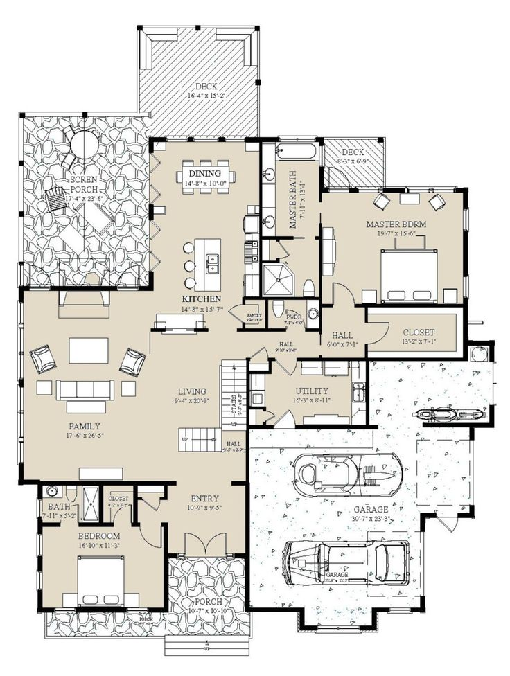 Craftsman Style House Plan 5 Beds 6 5 Baths 5039 Sq Ft