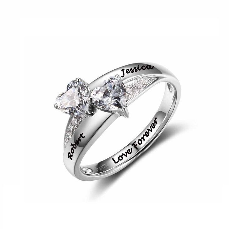 Post Included Aus Wide and to most international countries! - - - Double Hearts - 9K Solid White Gold Personalised Ring