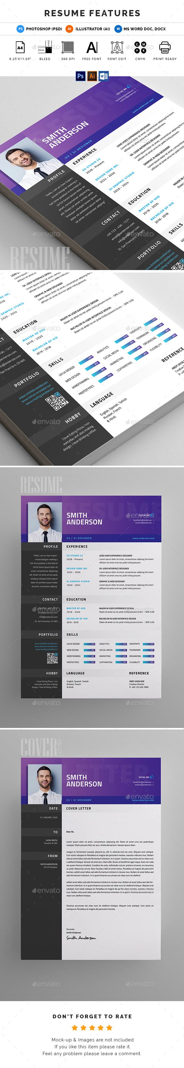Resume FEATURES:      Easy customizable and editable     300 DPI CMYK Print Ready!     A4 size 8.27 X 11.69 (with Bleed) settings     100% Layered and Full Editable     02 PSD Files included     02 Ai Files included     04 Word Files (DOC & DOCX) included     Help Guide Included     Print Ready Format     Images are not included in the download.