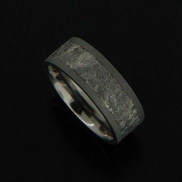 8mm Mens titanium wedding band with meteorite inlay