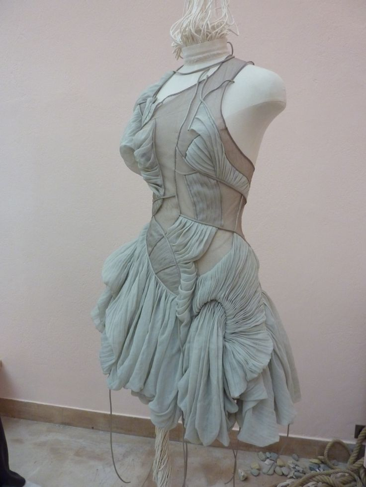 Creative Draping - dress with curved panels & draped pleats; fabric manipulation; couture sewing // Yiqing Yin