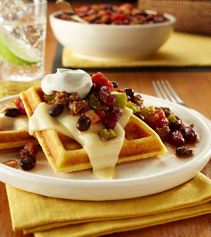 Easy, cheesy cornbread waffles, topped with hearty chili might just be the best meal to come home to.