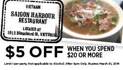 Saigon Harbour in Victoria BC - Coupon for $5 OFF when you spend $20 or more!