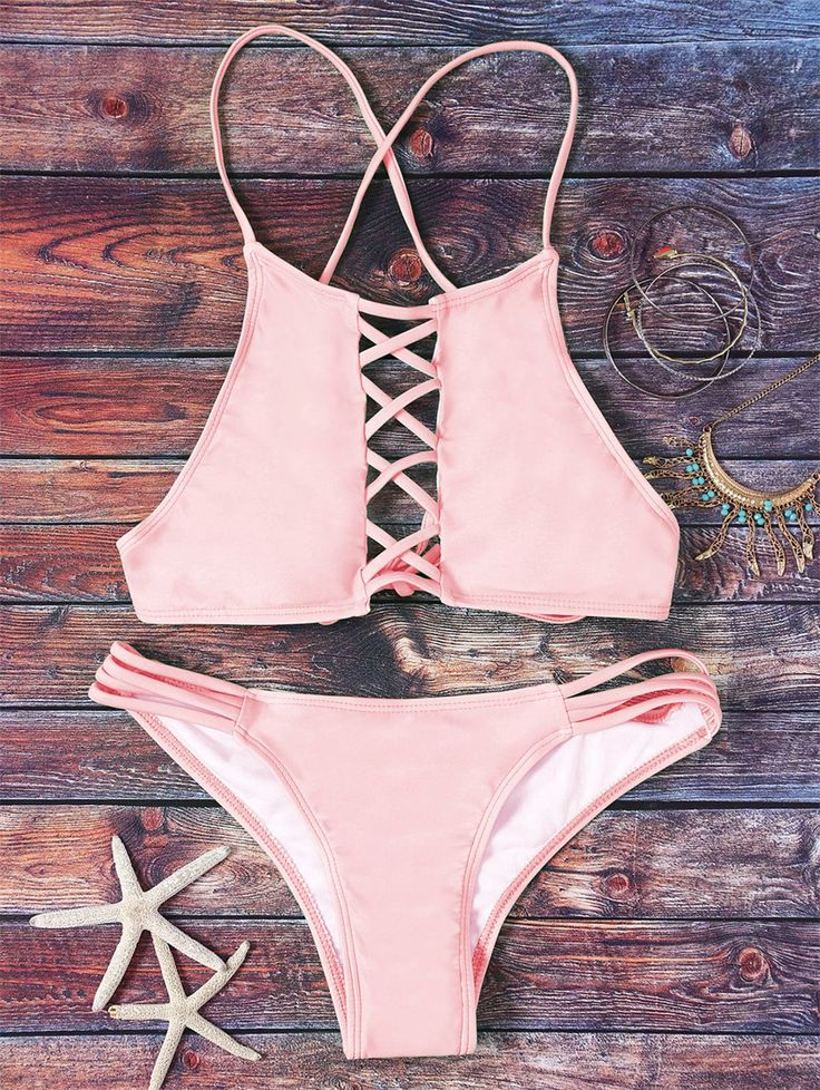 $19.99 Pink Hollow Out Halter Bikini Set - PINK L