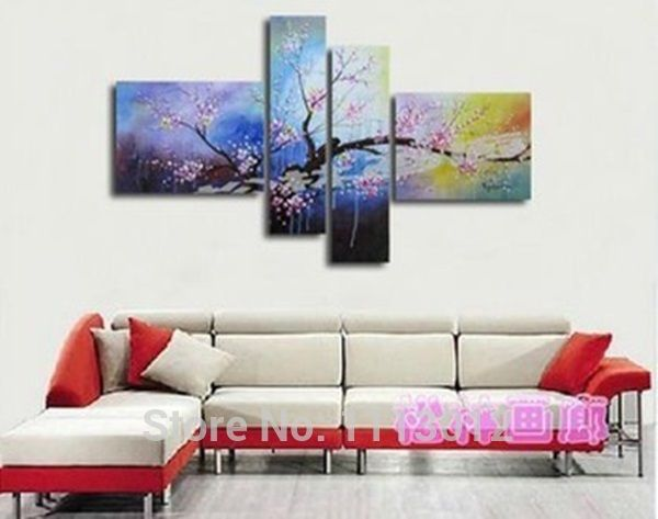 Hot Hand Painted Abstract Plum Tree Flower Oil Painting On Canvas 4 Pcs Sets Home Modern Wall Art Decor For Living Room Sale