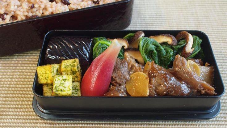 玄米小豆ご飯250g、すじこん、のりしおポテト、茗荷甘酢漬け、茄子揚浸し、焼椎茸・小松菜お浸し