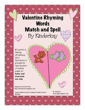 Students use Valentine hearts to match rhyming pictures and spell some of their words with letter tile mats