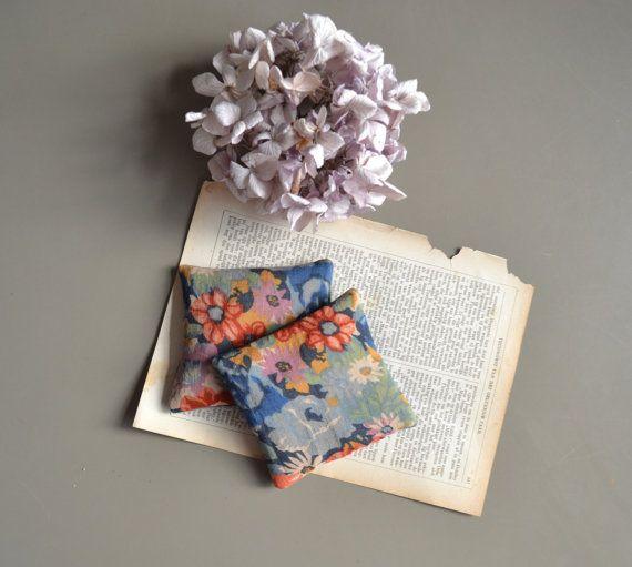 floral lavender pillows  lavender sachets  by xxxRedStitcHxxx