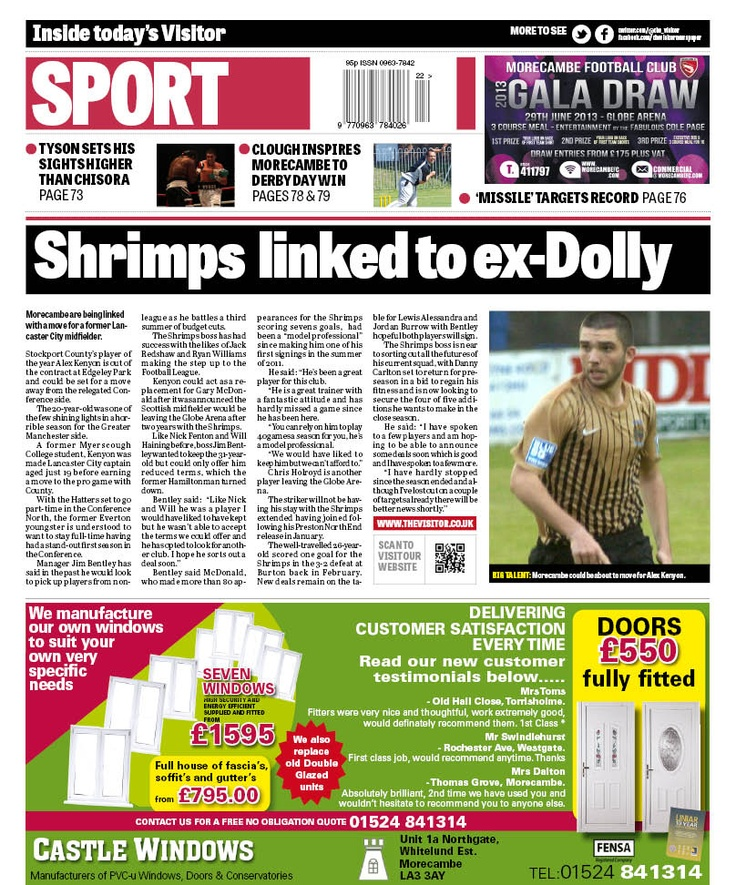 Back page, May 28 2013 - Shrimps linked to former Lancaster City captain http://www.thevisitor.co.uk/sport/football/morecambe-fc/morecambe-linked-with-move-for-ex-lancaster-city-captain-1-5717003
