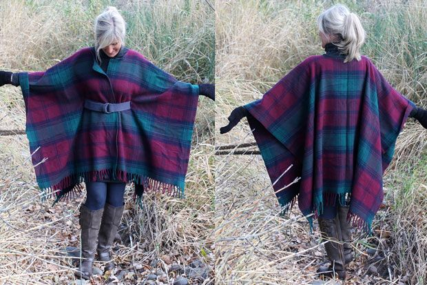 Keeps all your organs warm in style! DIY belted wool coat from a blanket.