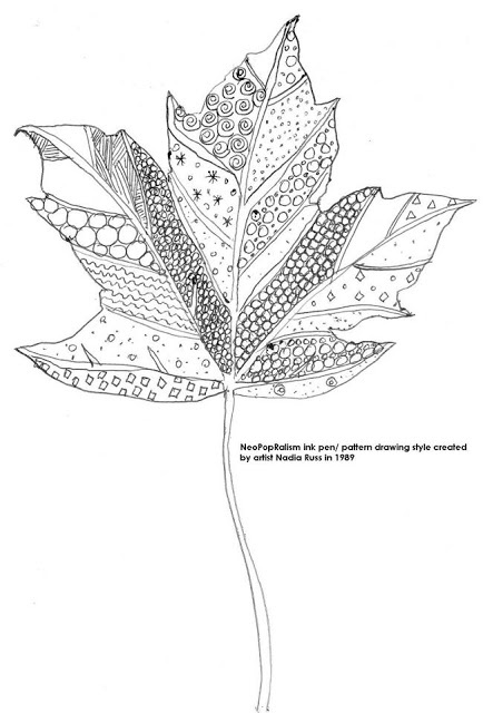 Art Lesson Plan: Leaves: NeoPopRealism ink and pen pattern drawing, Grades: 3-5, 6-8, adaptable for high school | Art Lesson Plans: NeoPopRealism ink pen/ pattern drawing for all ages