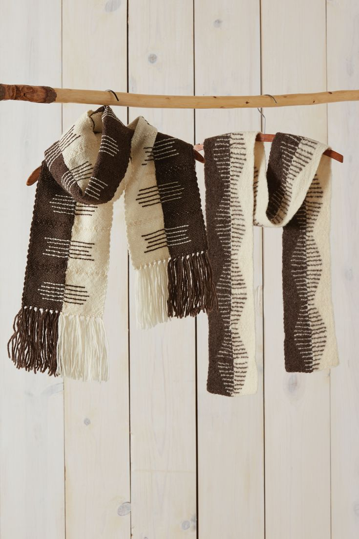 Embroidering the elegant designs on these pin loom scarves in two passes creates solid lines reminiscent of tapestry weaving. Weave, embroider, fringe, and wear for a drapey accessory, or gently felt the scarf for a more windproof wrap.