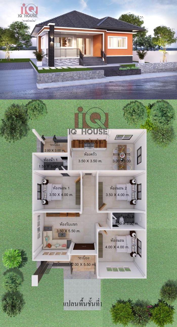 Desain Rumah The Sims 4 : desain, rumah, Classic, Design, Three-bedroom, Bungalow, Desain, Rumah, Bungalow,, Eksterior,, Letak