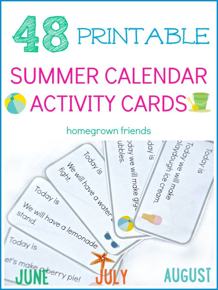 48 Free Printable Summer Calendar Activity Cards