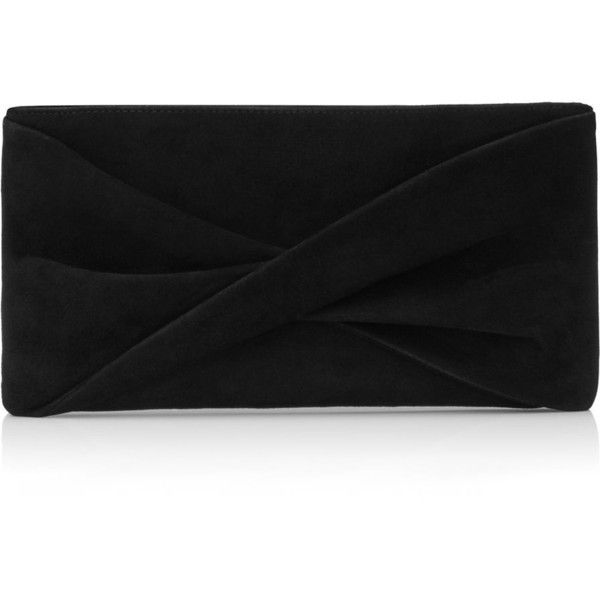 Reiss Beau Suede Knot Clutch found on Polyvore featuring bags, handbags, clutches, black, suede handbags, chain strap crossbody purse, cross body, suede purse and reiss handbags