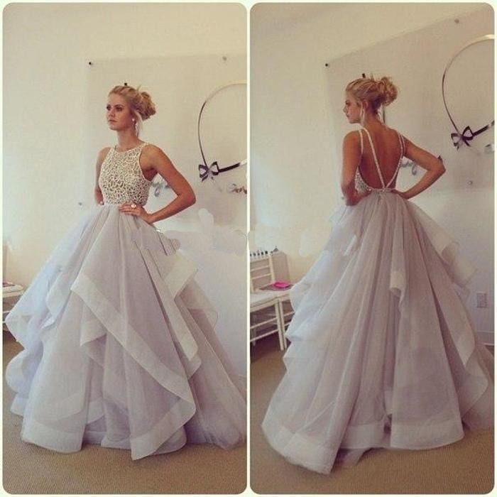 Glamorous Ball Gown Lace Puffy Organza Floor length Long Sexy Backless Prom Dresses