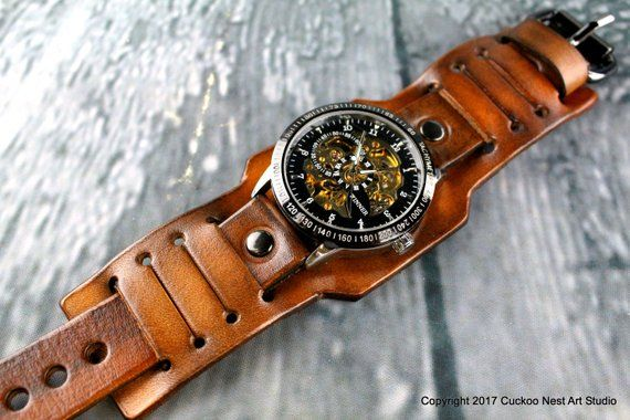 Personalized Men S Watch Mechanical Watch Steampunk Watch Custom Watch Band Leather Cuff Watch Wrist Watch Brown Leather Watch Leather Watch Cuff Leather Watch Leather Watch Bands