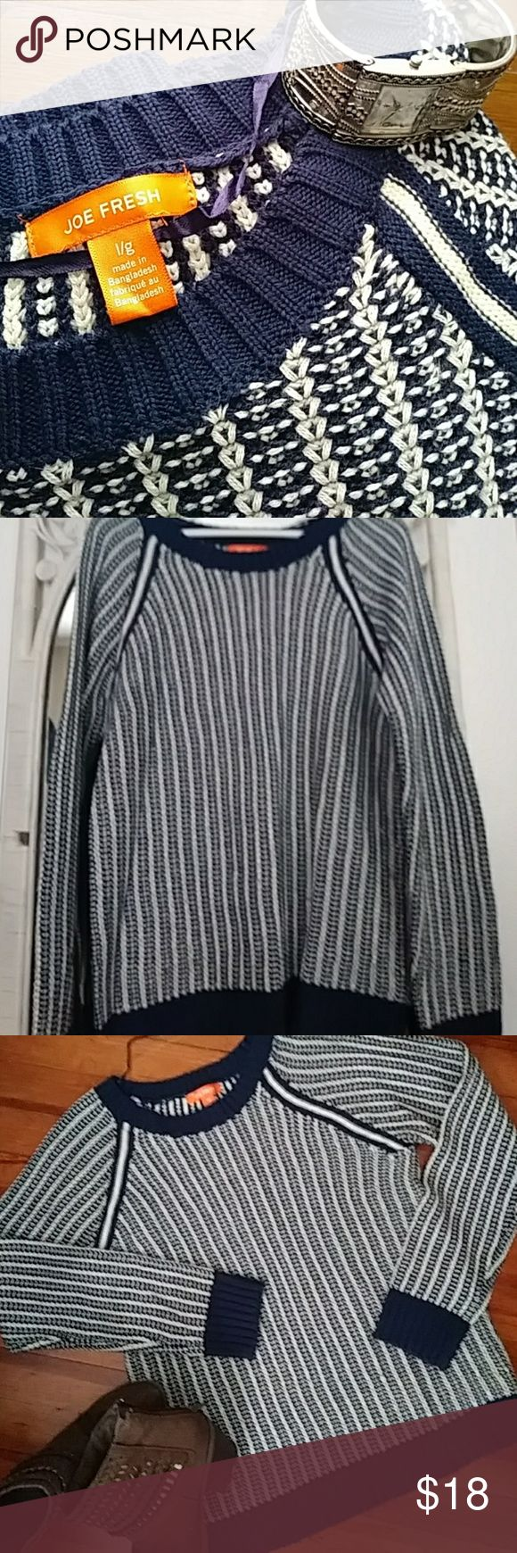Joe Fresh...good looking navy and white sweater Are you ready for the cold??. Grab this warm and cozy Joe Fresh sweater. Great navy and white woven pattern with solid navy collar and bands around wrists and bottom. Size large Joe Fresh Sweaters Crew & Scoop Necks