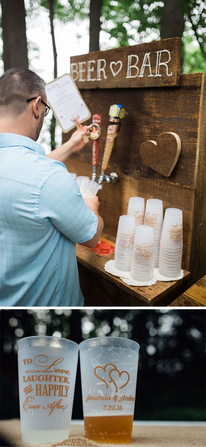 Beer was served from a custom built beer bar with two taps into personalized frosted plastic wedding cups with the couple's names, wedding date, and designs printed in light brown.  Guests also enjoyed lemonade, iced tea, and two different types of colorful sangria loaded with fresh fruit. The cups were ordered at http://myweddingreceptionideas.com/24_oz_personalized_frosted_plastic_cups.asp