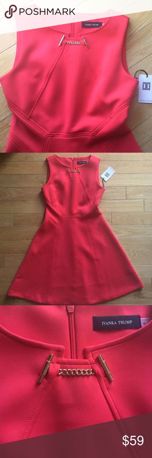🆕 NWT Ivanka Trump 🎉 cocktail/holiday dress Eye popping color! Red holiday/event/cocktail dress. Gold accent across the top.  Flattering for every body type. 92% polyester, 8% spandex (perfect for overindulging during those holiday parties) Ivanka Trump Dresses Midi