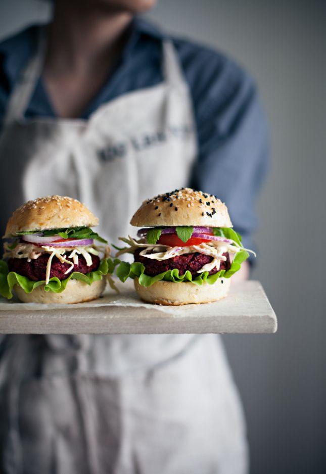 Homemade burger buns push these beet and carrot burgers over the top.