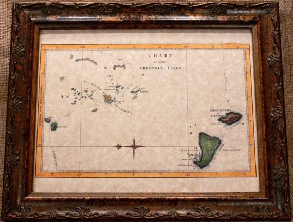 Chart of the Friendly Islands (Tonga) of Capt. James Cook's Voyages Map Print of a 1777 Map on Parchment Paper. $8.50, via Etsy.