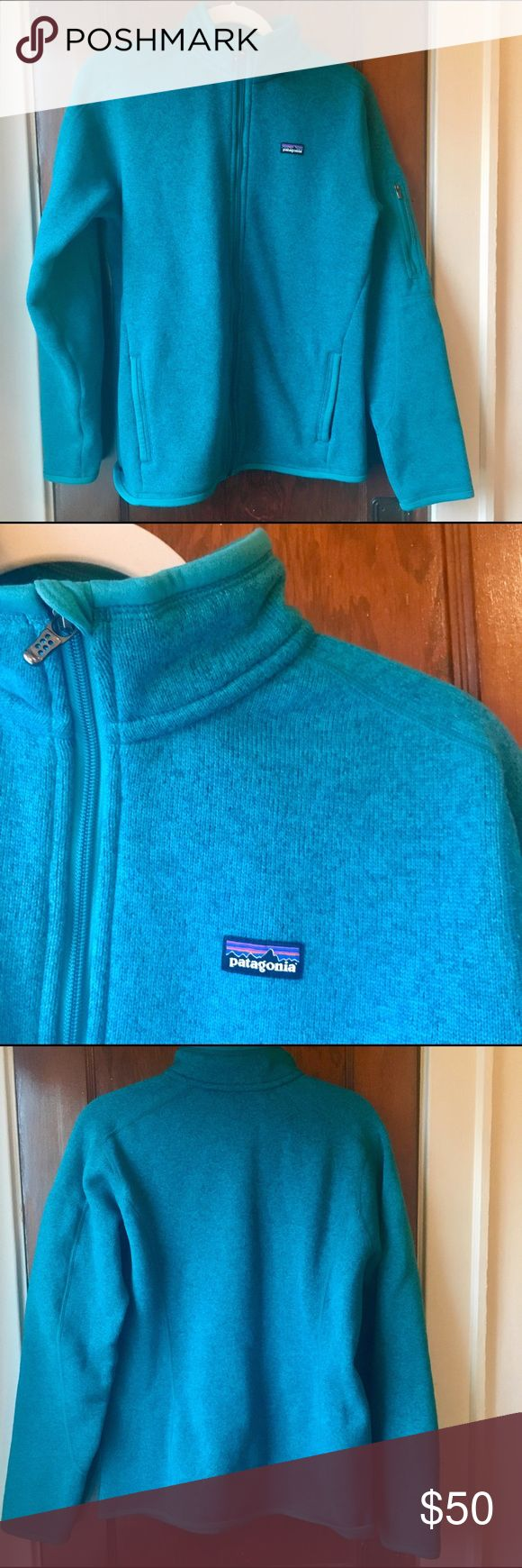 """Patagonia Fleece Jacket - Patagonia Better Sweater Fleece Jacket in teal/bluish - Size large, fits true to size - 100% polyester - Outer layer is a knit, inside is lined with soft fleece - Two zipper pockets in front, smaller zipper pocket on arm - Center back length 29"""" - Excellent condition, worn 3-4 times Patagonia Jackets & Coats"""