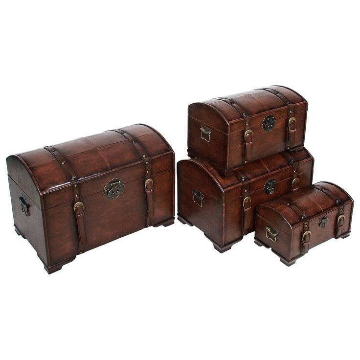 Have to have it. International Caravan Old World Replica Set of 4 Trunks-Brown Stain $199.98