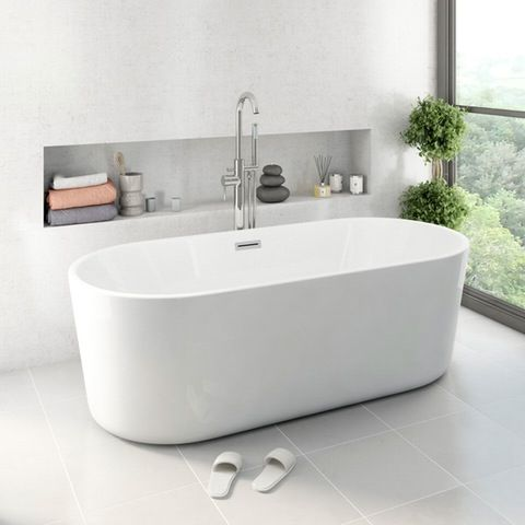 Ocean Freestanding Bath Small VictoriaPlum.com 1500(l)x700(w)x560(h) £799 down to £399. Think this will be statement but only concerns are space and how do clients clean behind bath with only 10 cm spare either side.