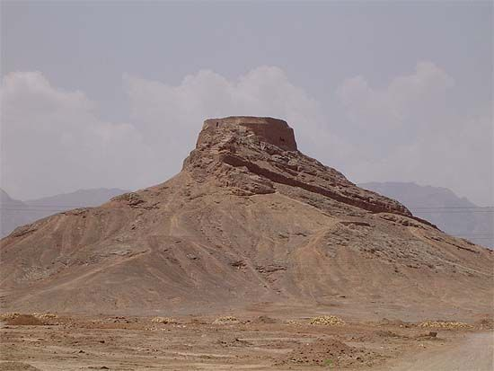 Tower of Silence, about 15 km from Yazd (Iran). Until the advent of Islam, the Zoroastrian communities in Iran were following the practice of exposing the dead in these towers because they were stripped to the bone by the vultures before being buried, so as not to contaminate the earth. Even Persian emperors like Darius, Cyrus, Xerxes and Artaxerxes, as Zoroastrians, were stripped by vultures before being buried in their tombs.