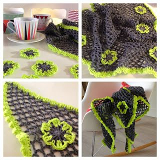 Bees and Appletrees (BLOG): shawl met neon bloemen - neon crochet scarf