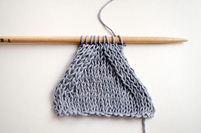 diminutions sur le verso d'un tricot
