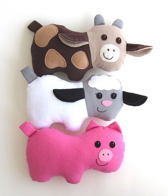 Animal softie pattern for cow pig lamb pdf sewing for Sewing templates for stuffed animals