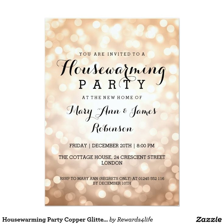 16 best house warming invites images on pinterest housewarming housewarming party copper glitter lights 5x7 paper invitation card more stopboris Image collections