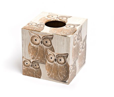 Brown Owl Tissue Box from Crackpots Tissue boxes and Bins - lovingly hand decoupaged <3