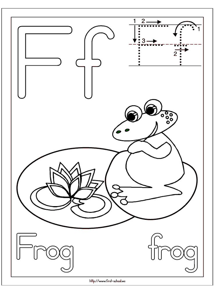 Frog coloring page for F week. Letter F Activities