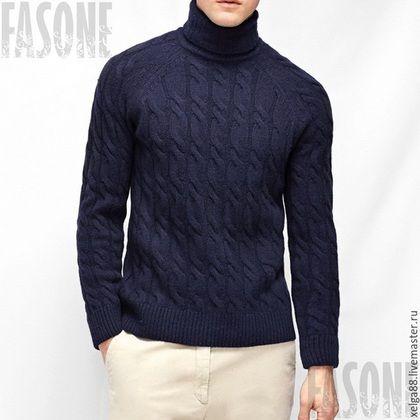Для мужчин, ручной работы. Ярмарка Мастеров - ручная работа. Купить Мужской свитер с косами(два цвета). Handmade. Разноцветный