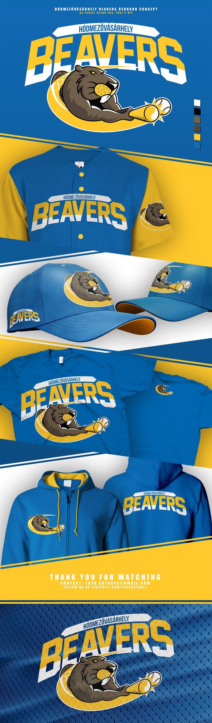 Mascot logo and rebrand concept for the Hódmezővásárhely Beavers baseball team from Hungary.  Made by Tobler Gergő aka TGer's DIY  Follow me at Pinterest.com/tgercojones  Learn more: https://www.facebook.com/hodokbaseball/  #tgersdiy
