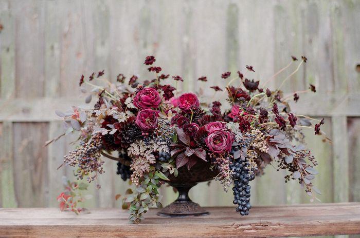 "1. Chocolate Chervil / ""Mona Lavender"" Plectranthus foliage / ""Wine and Roses"" Weigela foliage / ""Purple Majesty"" Chinese Fringe Flower foliage / ""Plum Palace"" Huechera foliage    2. ""Escargot"" Rex Begonia foliage / Centradenia foliage / Concord Grape / Indian Hawthorn / Viburnum Berry / Privet Berry    3. ""The Prince"" Garden Rose / Chocolate Cosmo /  Nigella / Scabiosa / Chocolate Dahlia"